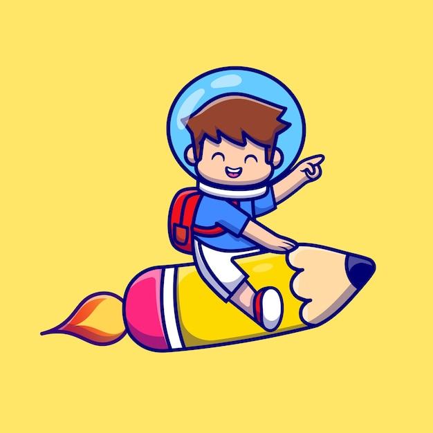 Милый мальчик летит с карандашом ракета мультфильм Бесплатные векторы