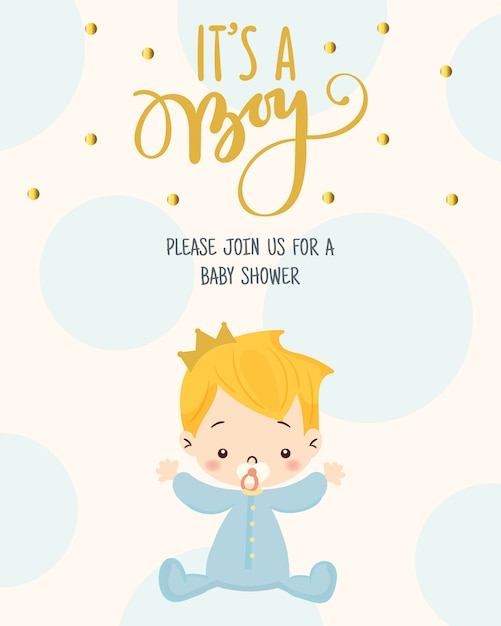 Cute Boy For Baby Shower Invitation Card Design Template Vector
