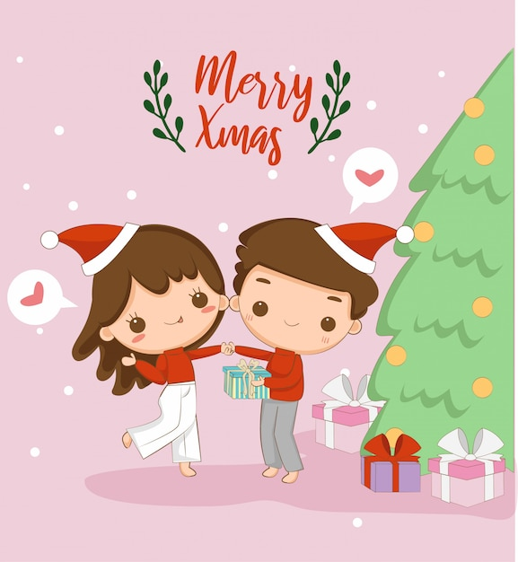 Cute boy and girl, merry christmas greeting card Premium Vector