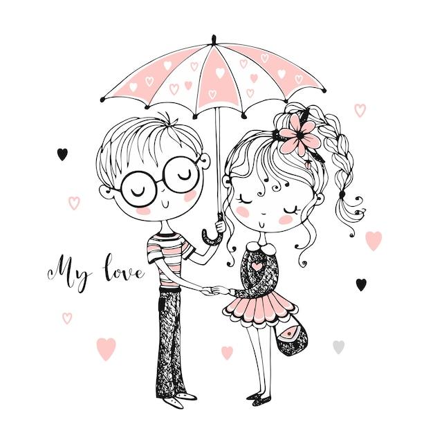 Cute boy and girl under umbrella. rendezvous. Premium Vector