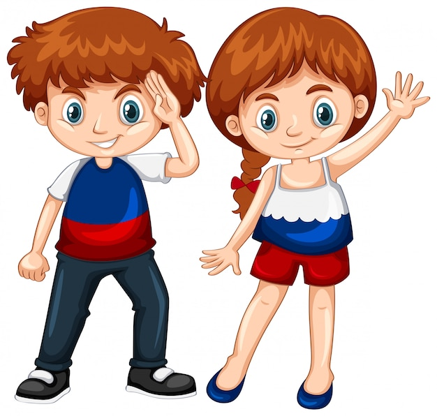 Cute boy and girl waving hands Free Vector
