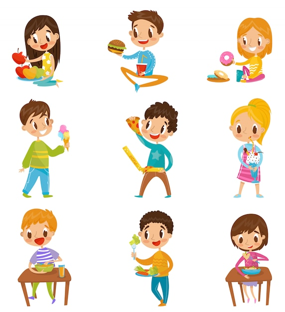 Cute boy and girls having brekfast or lunch set, kids enjoying their meal  illustrations on a white background Premium Vector