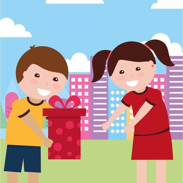 Cute Boy Giving Gift Box A Cute Girl Vector Premium Download