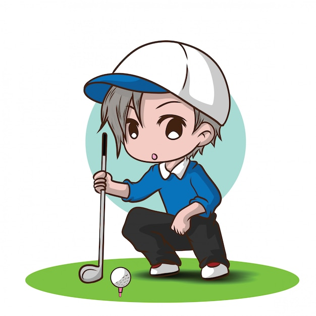Cute boy golf cartoon character Premium Vector