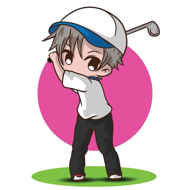 Cute boy golf cartoon character Premium Vector