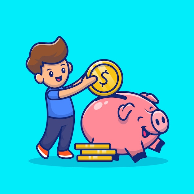 Cute boy insert coin into piggy bank cartoon icon illustration. saving money icon concept isolated premium . flat cartoon style Premium Vector