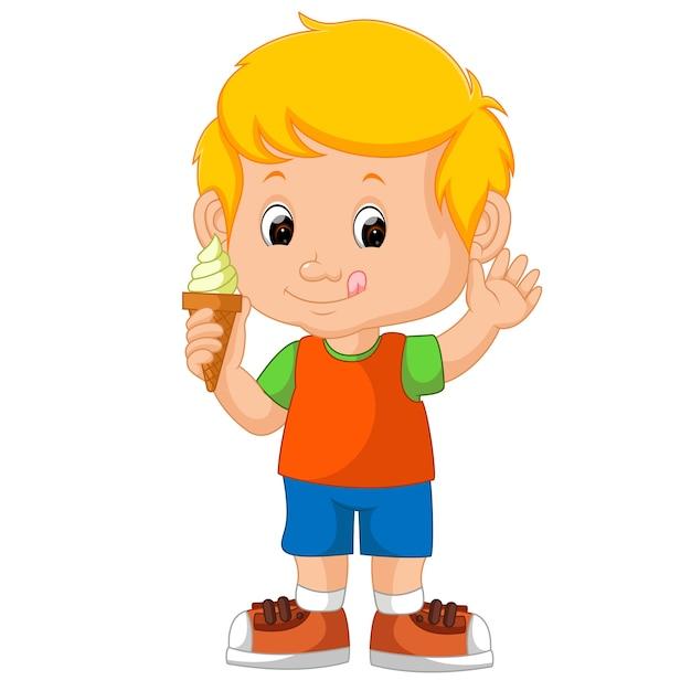 Симпатичный мальчик, облизывающий мороженое Premium векторы