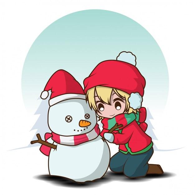 Cute boy make a snowman Premium Vector