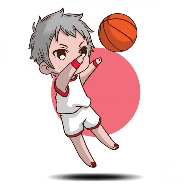 Cute boy play basketball cartoon character. Premium Vector