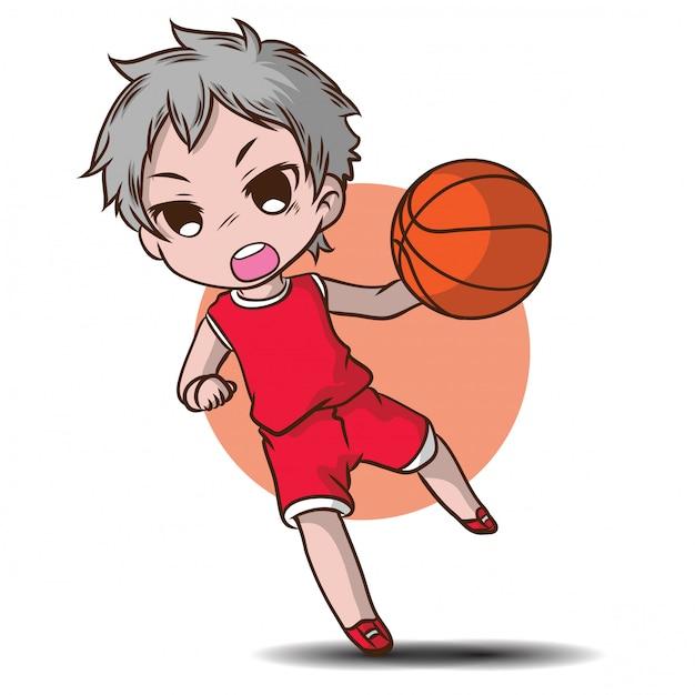 Cute boy play basketball cartoon character. Premium Vector