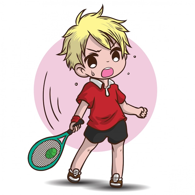 Cute boy play tennis cartoon character. Premium Vector