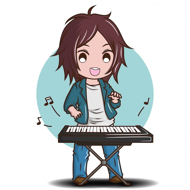 Cute Boy Playing The Electric Keyboard Cartoon Music Concept Premium Vector