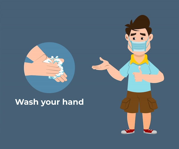Cute boy recommends preventing virus by washing your hands with hand sanitizer Premium Vector