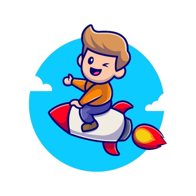 로켓 만화 아이콘 그림을 타고 귀여운 소년입니다. 무료 벡터