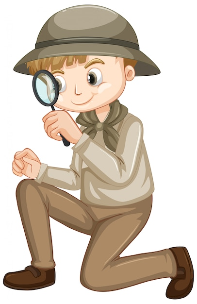 Cute boy in safari outfit on white Free Vector
