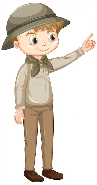 Cute boy in safari outfit on white Premium Vector