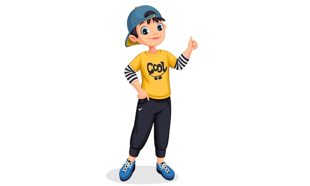 Cute boy in standing position showing thumb Free Vector