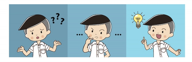 Cute boy in thai student uniform is confusing then thinking and got the idea. Premium Vector