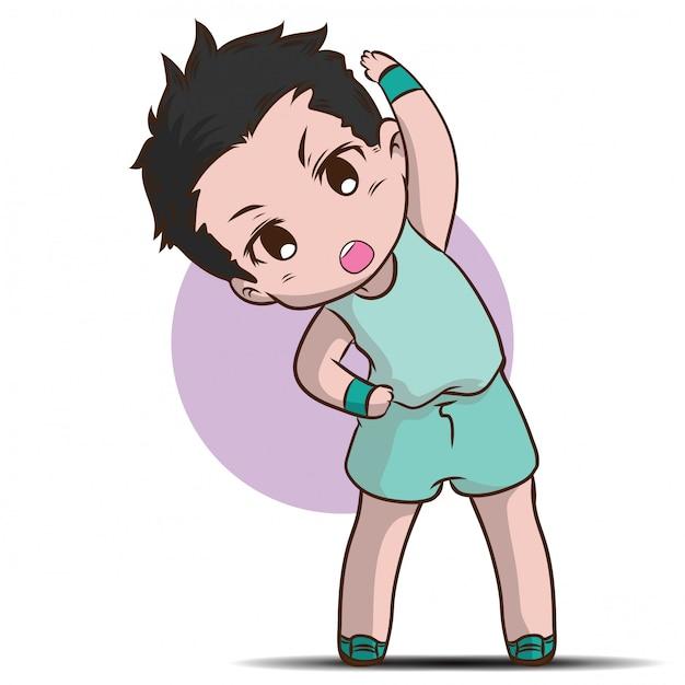 Cute boy warm up cartoon character. Premium Vector