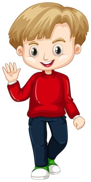Cute boy waving hand Free Vector