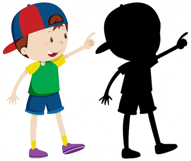 Cute boy wearing cap in colour and silhouette Free Vector