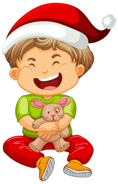 Cute boy wearing christmas hat and playing with his toy Free Vector