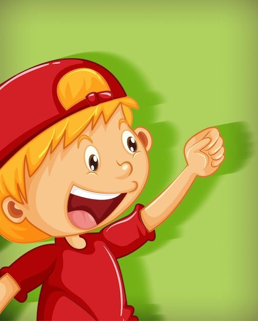 Ragazzo sveglio che indossa il berretto rosso con personaggio dei cartoni animati di posizione stranglehold isolato su priorità bassa verde Vettore gratuito
