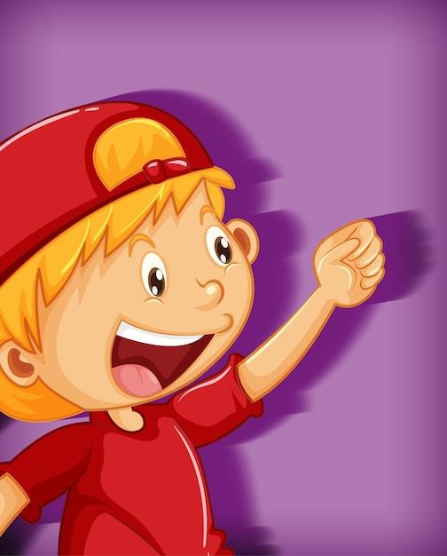 Ragazzo sveglio che indossa il berretto rosso con personaggio dei cartoni animati di posizione stranglehold isolato su sfondo viola Vettore gratuito
