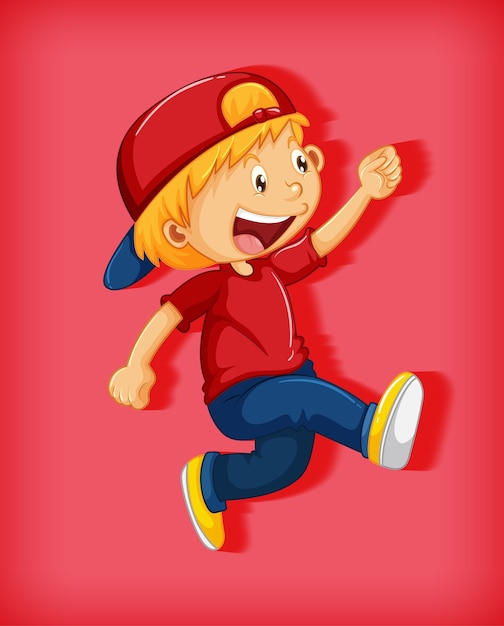 Ragazzo sveglio che porta il berretto rosso con stranglehold nel personaggio dei cartoni animati di posizione ambulante isolato su priorità bassa rossa Vettore gratuito