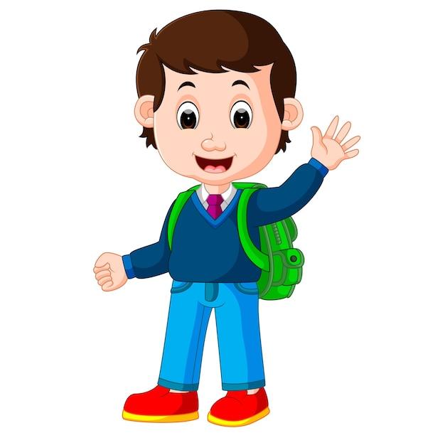 Cute boy with backpack cartoon vector premium download - Cartoon boy wallpaper ...