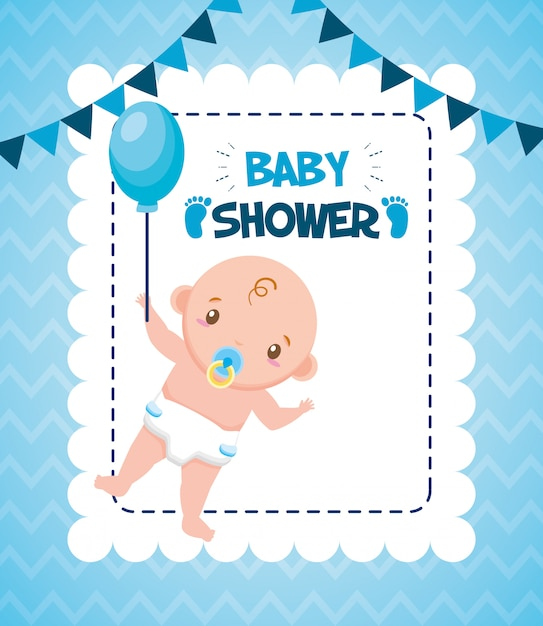 Cute boy with balloon for baby shower card Free Vector