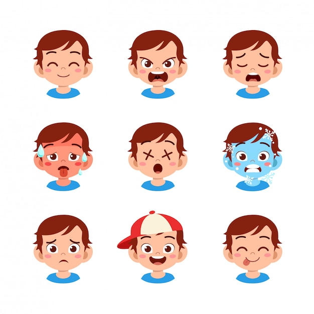 Cute boy with different face expressions Premium Vector