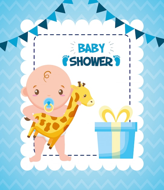 Cute boy with giraffe and gift Free Vector