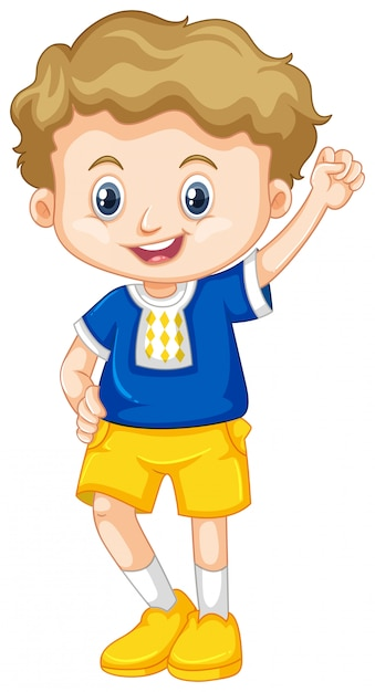 Cute boy with happy face Free Vector