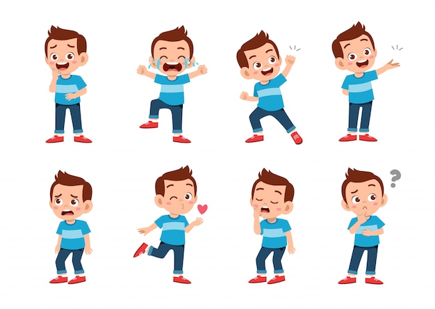 Cute boy with many gesture expressions Premium Vector