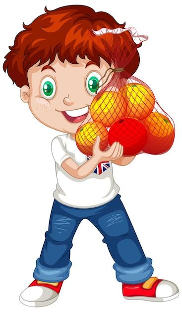 Ragazzo carino con capelli rossi che tengono i frutti in posizione eretta Vettore gratuito