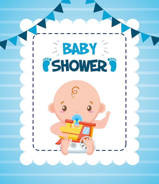 Cute boy with train for baby shower card Free Vector