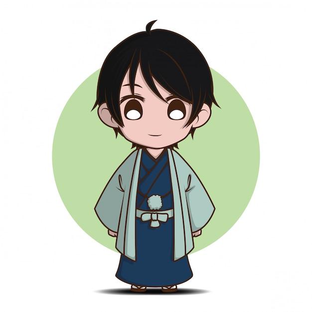 Cute boy in yukata costume., yukaya is japan national dress. Premium Vector