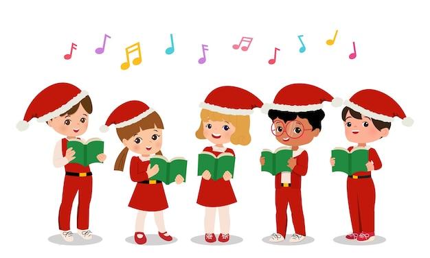 Симпатичные мальчики и девочки в униформе санты исполняют рождественские гимны. школьный хор картинки. плоский мультяшный вектор изолированы. Premium векторы