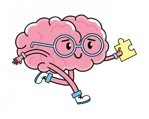 Cute brain cartoon Premium Vector
