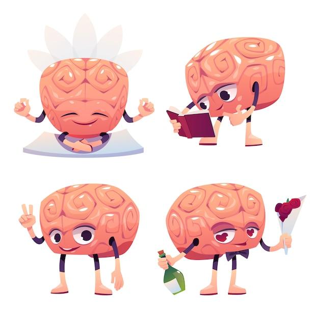 さまざまなポーズのかわいい脳キャラクター 無料ベクター