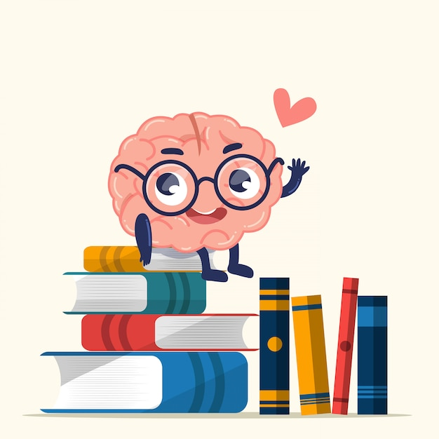 Cute brain is sitting on books that piles on the floor. Premium Vector