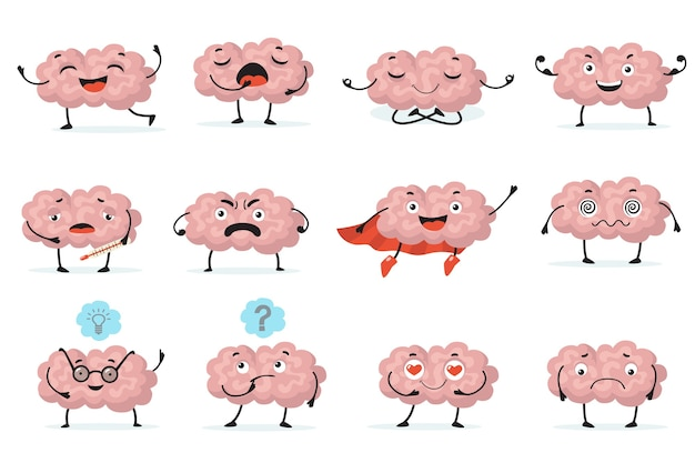 Cute brainy character expression flat icon set. cartoon brain with emotions  isolated vector illustration collection. brainpower, mind and intelligence concept Free Vector