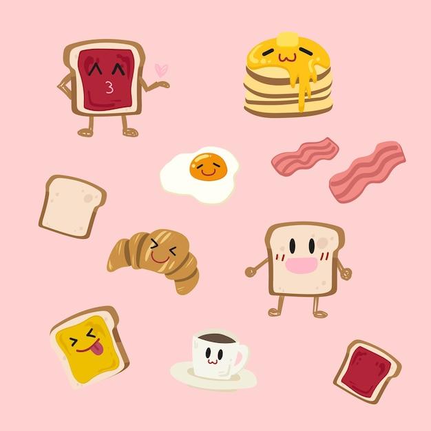 Симпатичные набор вектора завтрак. Premium векторы
