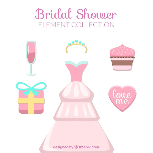 cute bridal shower elements free vector