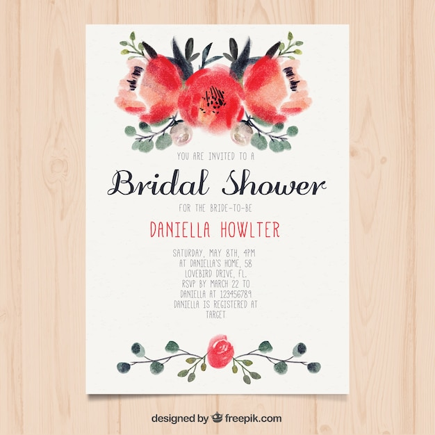 Cute bridal shower invitation with flowers painted with watercolor Free Vector