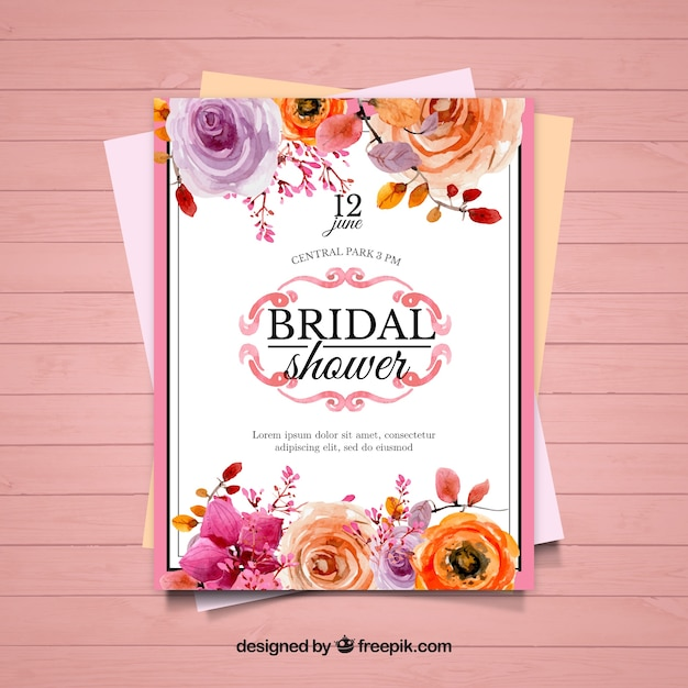 cute bridal shower invitation with orange and purple flowers stock images page everypixel