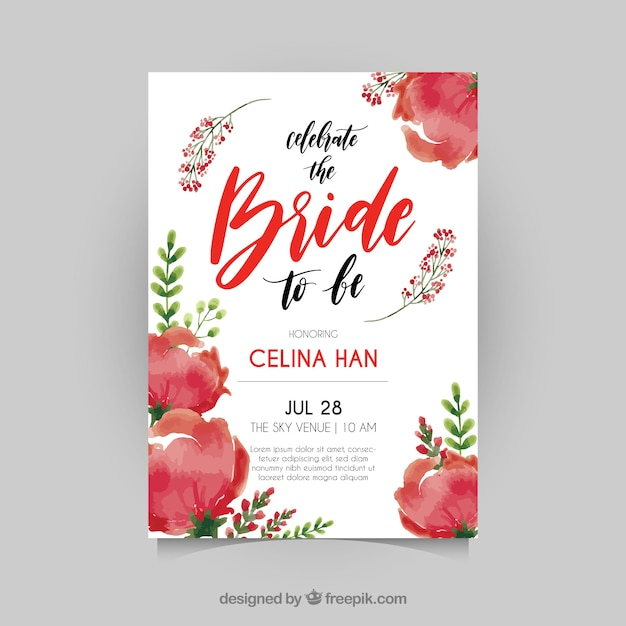 cute bridal shower invitation with red flowers free vector