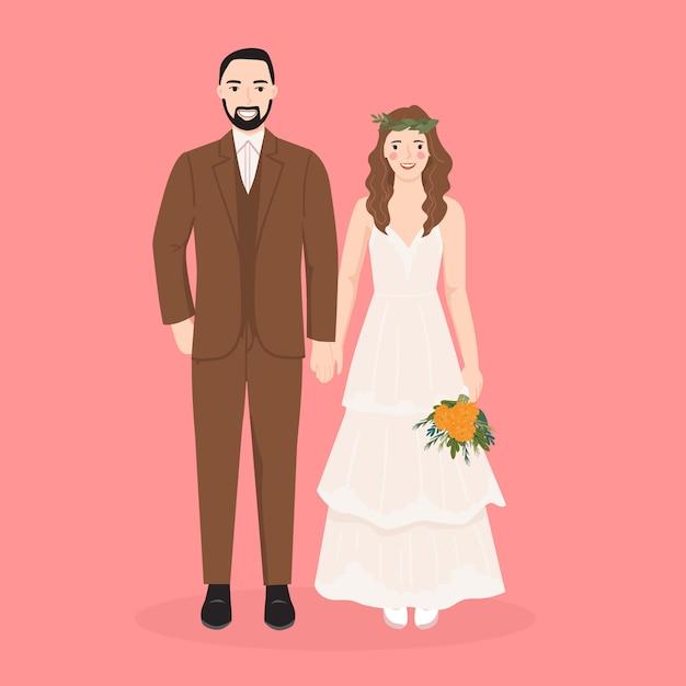 결혼식 초대 카드 템플릿 귀여운 신부와 신랑 만화 프리미엄 벡터