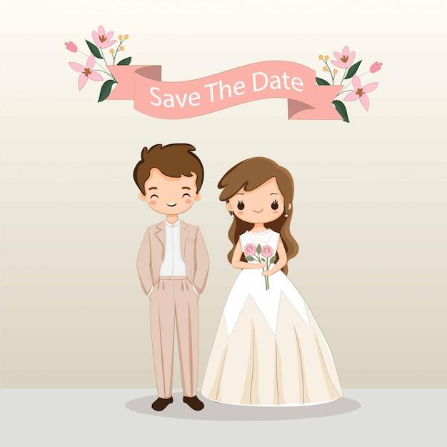 結婚式の招待カードテンプレートのかわいい新郎新婦漫画 Premiumベクター